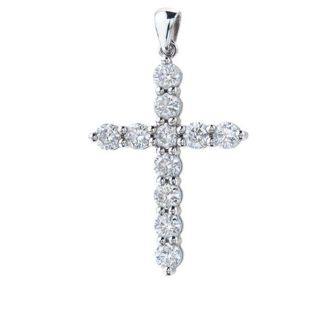 Кулон Крест с 11 бриллиантами