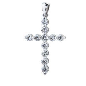 Кулон Крестик с 11 бриллиантами