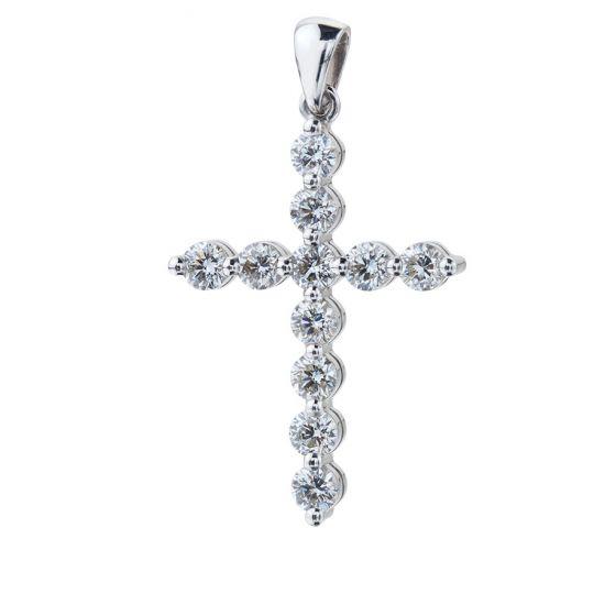 Кулон Крестик с 11 бриллиантами, Больше Изображение 1