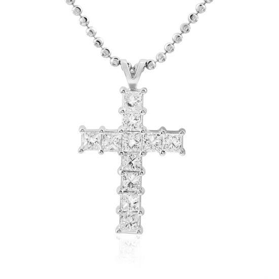 Крестик с 11 квадратными бриллиантами, Больше Изображение 1