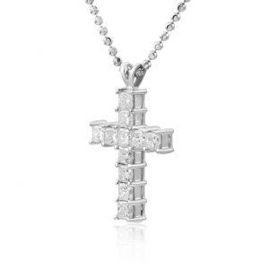 Крестик с 11 квадратными бриллиантами