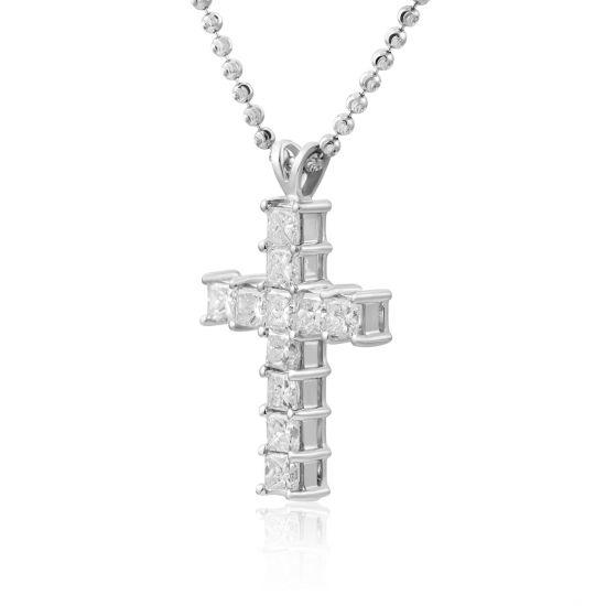 Крестик с 11 квадратными бриллиантами,  Больше Изображение 2