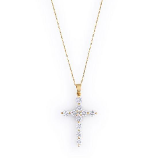 Подвеска Крест с бриллиантами, Больше Изображение 1