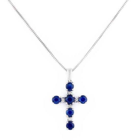 Подвеска Крест с бриллиантами и сапфирами, Больше Изображение 1