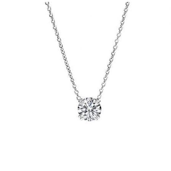Колье с круглым бриллиантом на цепочке, Больше Изображение 1