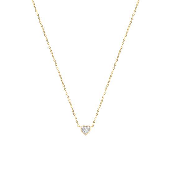 Кулон с бриллиантом Cердечко на цепочке, Больше Изображение 1