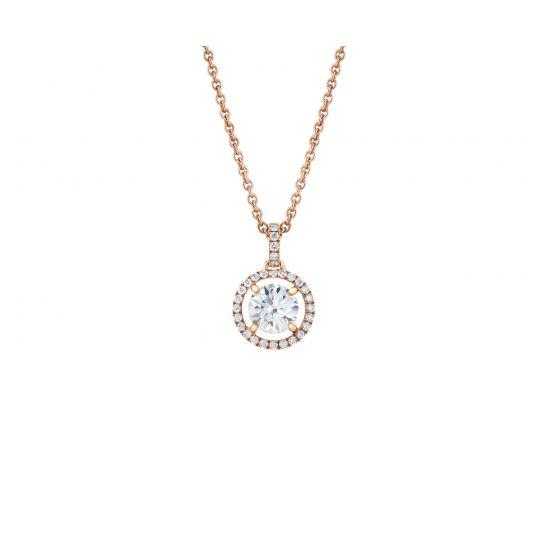 Кулон с бриллиантом в ореоле на цепочке, Больше Изображение 1