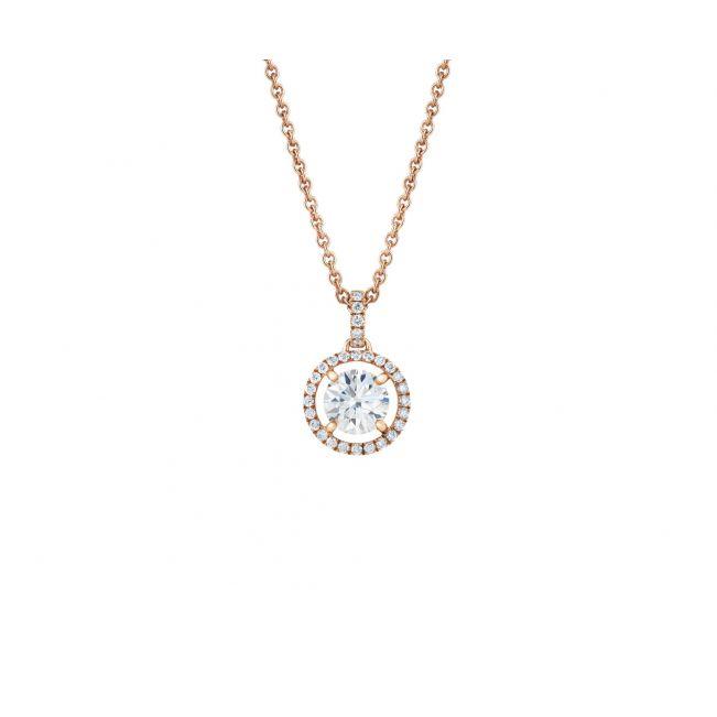 Кулон с бриллиантом в ореоле на цепочке