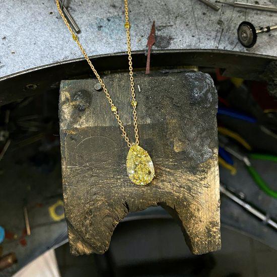 Подвеска с желтым бриллиантом на цепочке,  Больше Изображение 2