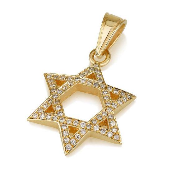 Подвеска Звезда Давида из золота с бриллиантами, Больше Изображение 1