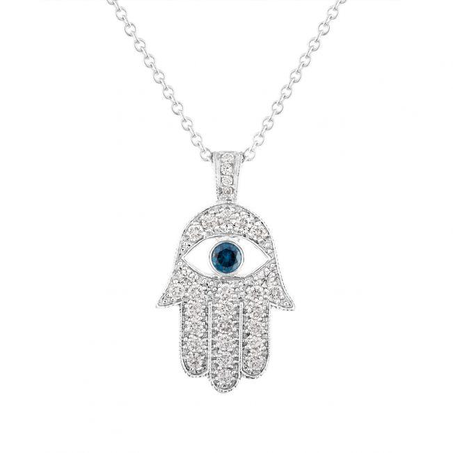 Подвеска Хамса с глазом в паве из бриллиантов