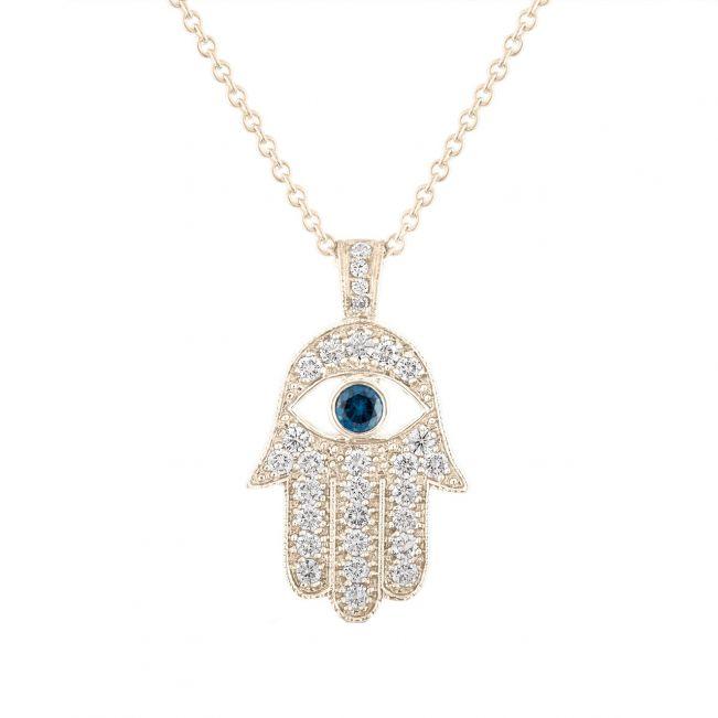 Подвеска золотая Хамса с бриллиантами