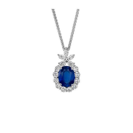 Кулон с овальным сапфиром и бриллиантами, Больше Изображение 1