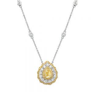 Колье с желтым и белыми бриллиантами огранки груша