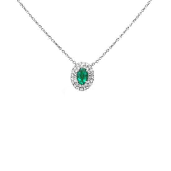 Колье с овальным изумрудом и бриллиантами, Больше Изображение 1