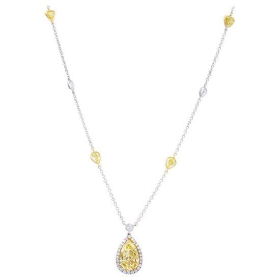 Колье с желтыми и белыми бриллиантами, Больше Изображение 1