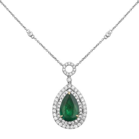 Колье с изумрудом в форме капли и бриллиантами, Больше Изображение 1