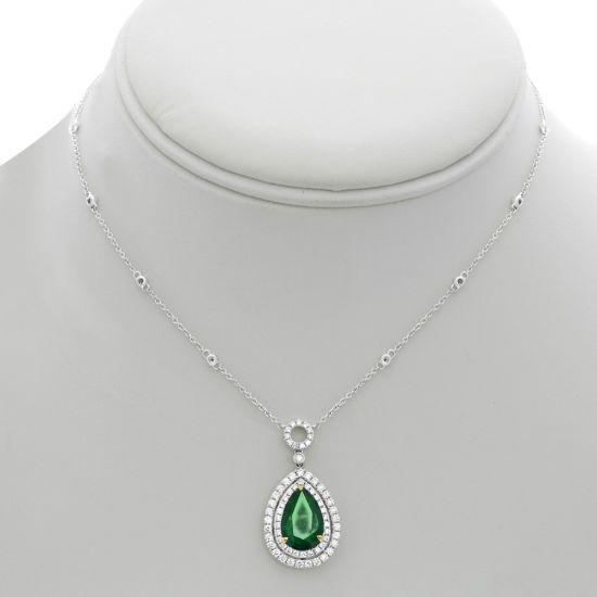 Колье с изумрудом в форме капли и бриллиантами,  Больше Изображение 3