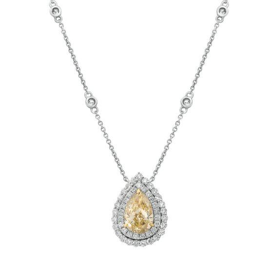 Колье с желтым бриллиантом огранки груша, Больше Изображение 1