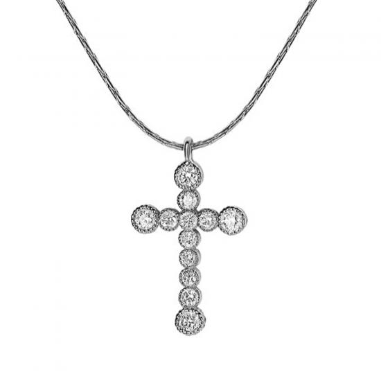 Подвеска крестик в золоте с бриллиантами, Больше Изображение 1