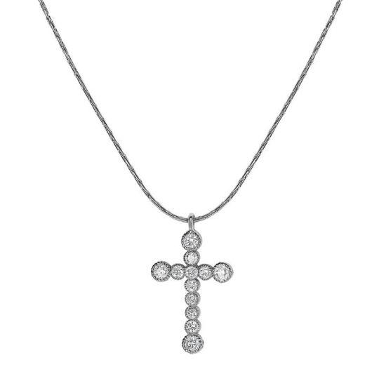 Подвеска крестик в золоте с бриллиантами,  Больше Изображение 4