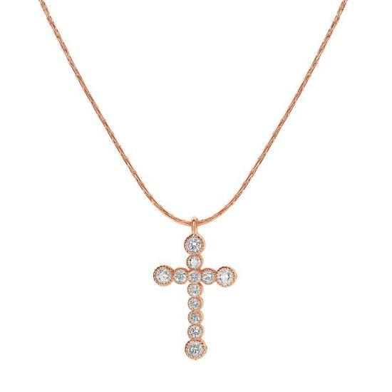 Подвеска крестик в золоте с бриллиантами,  Больше Изображение 2