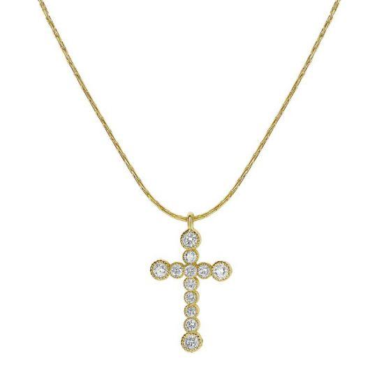 Подвеска крестик в золоте с бриллиантами,  Больше Изображение 3