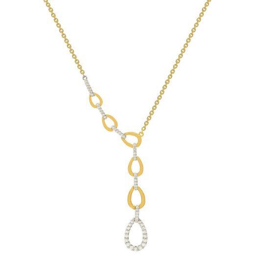 Колье с бриллиантами из белого и желтого золота, Больше Изображение 1