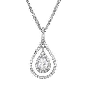 Украшение на шею в форме капли с белыми бриллиантами