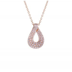 Кулон Капля с белыми бриллиантами