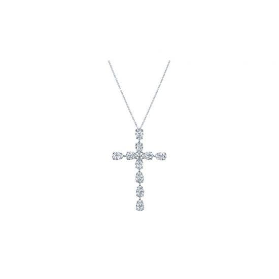 Крестик с 10 бриллиантами огранки груша,  Больше Изображение 2