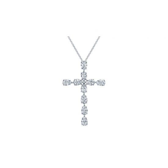 Крестик с 10 бриллиантами огранки груша, Больше Изображение 1
