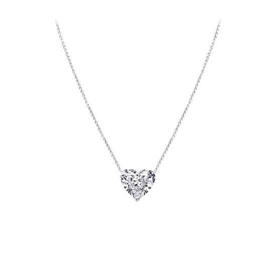 Кулон на цепочке с бриллиантом в форме сердца, Больше Изображение 1