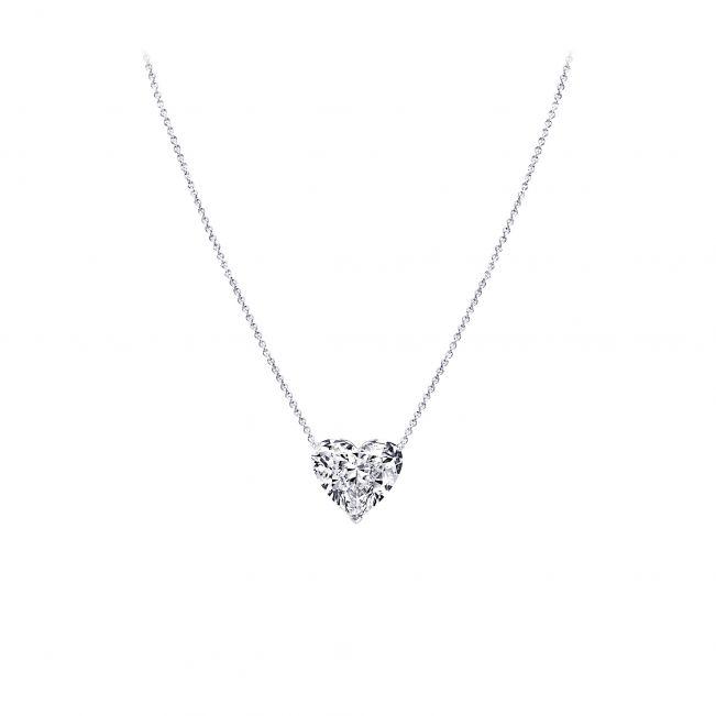 Кулон на цепочке с бриллиантом в форме сердца
