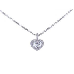 Кулон с бриллиантом в форме сердца в ореоле