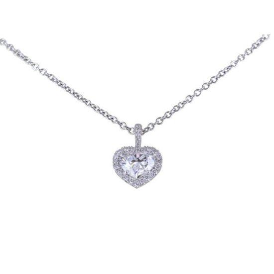 Кулон с бриллиантом в форме сердца в ореоле,  Больше Изображение 2