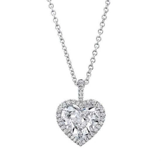 Кулон с бриллиантом в форме сердца в ореоле, Больше Изображение 1