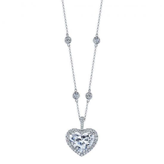 Украшение на шею с бриллиантом в форме сердца в ореоле, Больше Изображение 1