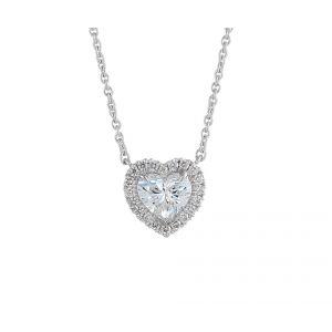 Колье с бриллиантом в форме сердца в ореоле