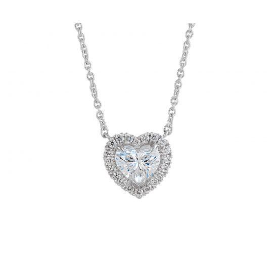 Колье с бриллиантом в форме сердца в ореоле,  Больше Изображение 2