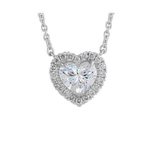 Колье с бриллиантом в форме сердца в ореоле, Больше Изображение 1