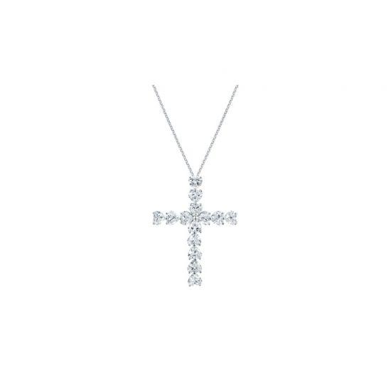 Крестик с бриллиантами в форме сердца,  Больше Изображение 2