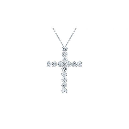 Крестик с бриллиантами в форме сердца, Больше Изображение 1