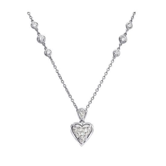 Колье на цепочке с бриллиантами сердечко, Больше Изображение 1