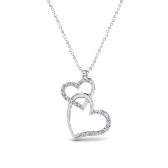 Украшение на шею Два сердца с бриллиантами, Больше Изображение 1