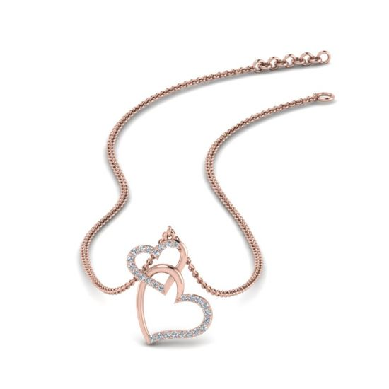 Украшение на шею Два сердца с бриллиантами,  Больше Изображение 3