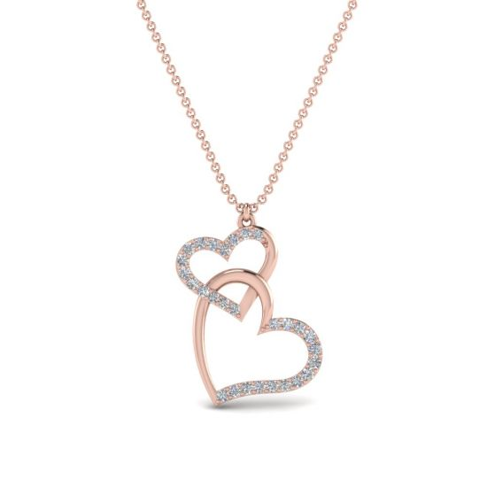 Украшение на шею Два сердца с бриллиантами,  Больше Изображение 4