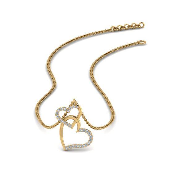 Украшение на шею Два сердца с бриллиантами,  Больше Изображение 5