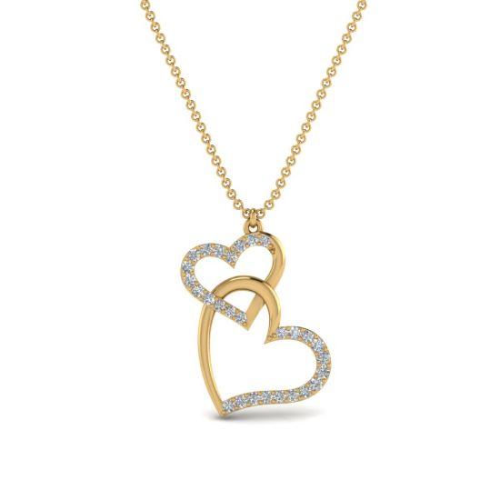 Украшение на шею Два сердца с бриллиантами,  Больше Изображение 6