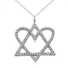 Кулон Звезда Давида из белого золота с бриллиантами